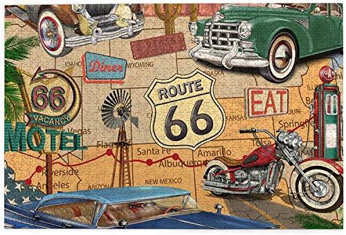 1000 piezas Vintage Roadtrip Route 66 Jigsaw Puzzle, divertido juguete educativo para niños de 12 años, adolescentes, adultos y familias.Juegos educativos Puzzle de decoración del hogar, tamaño