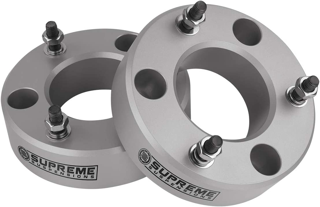 Supreme Suspensions Silver Front Leveling Kit for 2004-2020 Ford F150 2003-2017 Ford Expedition and 2005-2008 Lincoln Mark LT 2 Front Lift Aircraft Billet Strut Spacers Kit 2WD 4WD