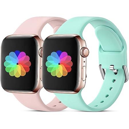 CeMiKa Correa Deportiva Compatible con Apple Watch Correa 38mm 40mm 42mm 44mm, Correa de Repuesto de Silicona Suave Compatible con iWatch Series 6 5 4 3 2 1,38mm/40mm-S/M Rosa/Turquesa