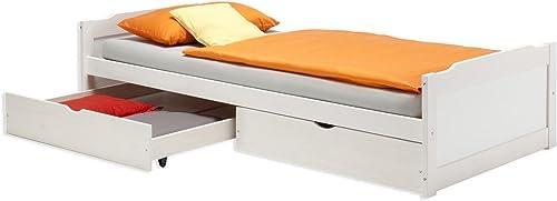 IDIMEX Kojenbett Funktionsbett Jugendbett Bett Kiefer massiv Weißs 90 x 200 cm (BxL)