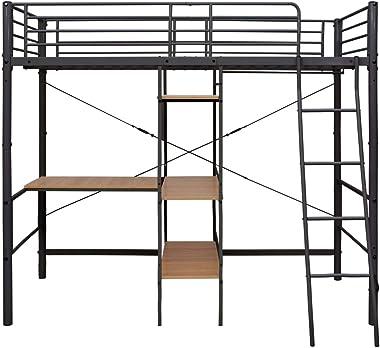 FAMIROSA Lit superposé avec Cadre de Table Gris Métal 90x200 cm