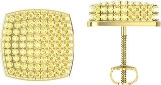 Mahijewels Cushion Shape Yellow CZ Diamond Stud Earrings 14K Yellow Plated Screw back Earring For Men Women