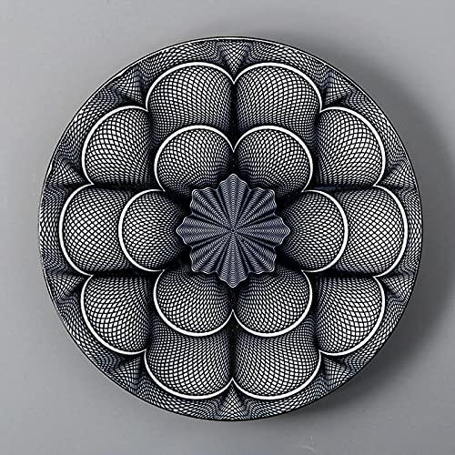 LTPY Estilo japonés 10.5 Pulgadas Placa Redonda Cerámica Creativa Retro Vajilla Sopa Placas Fruta Ensalada Desayuno Plato Poco Profundo Plato de Carne,5