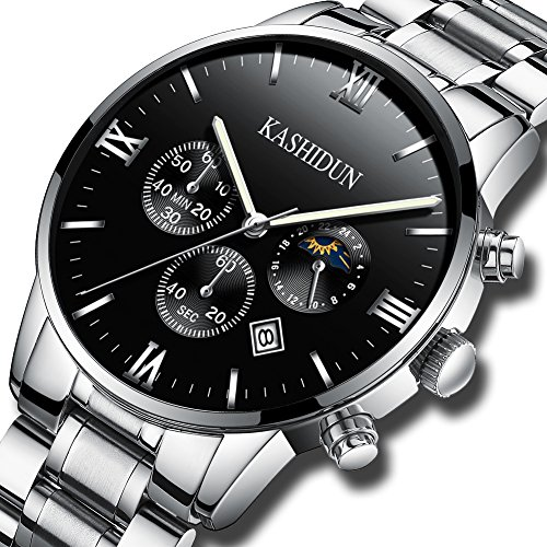 KASHIDUN Men's Watches Luxury Sports Casual Dress Quartz Wristwatches Waterproof Chronograph Calendar Date ZH (Silver Black)