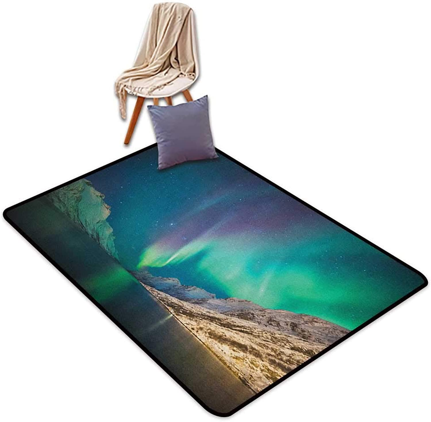 Non-Slip Carpet Nature Mystical Aurora Borealis Above The Rocky Hills Magnetic Poles Solar Space Panorama Outside The Door Rug W5'xL8'