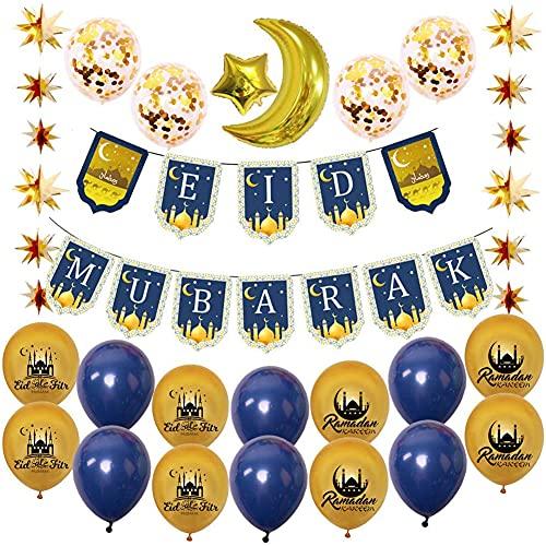 Ramadan Mubarak Banner Balloon Decorations,Eid Festival Foil Balloon Star Moon Garland for Home Garden Muslim Islamic Ramadan Party Decorations Supplies