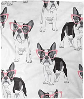 Golee Throw Blanket Pattern Cartoon French Bulldog in Pink Glasses on Frenchie Dog 50x60 Inches Warm Fuzzy Soft Blanket for Bed Sofa
