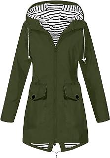 Women's Waterproof Jackets Rainproof Coat Long Sleeve Plus Size Solid Outdoor Sportswear Rain Jackets with Hood