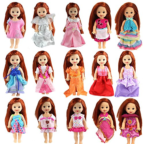 BARWA 6pcs Kelly Doll Clothes Fashion Dresses Outfit for Kelly Doll