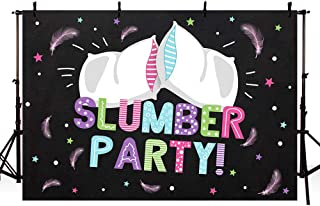 MEHOFOTO Slumber Birthday Party Decorations Photo Studio Booth Background Banner Colorful Pajama Girls Sleepover Pillow Fight Black Backdrops Props for Photography 7x5ft