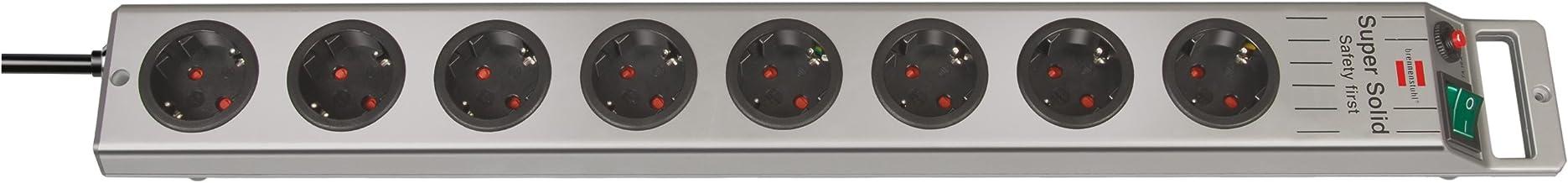 Brennenstuhl Super-Solid, stekkerdoos 8-voudig (2,5m kabel en schakelaar - van onbreekbaar polycarbonaat) kleur: zwart/zilver