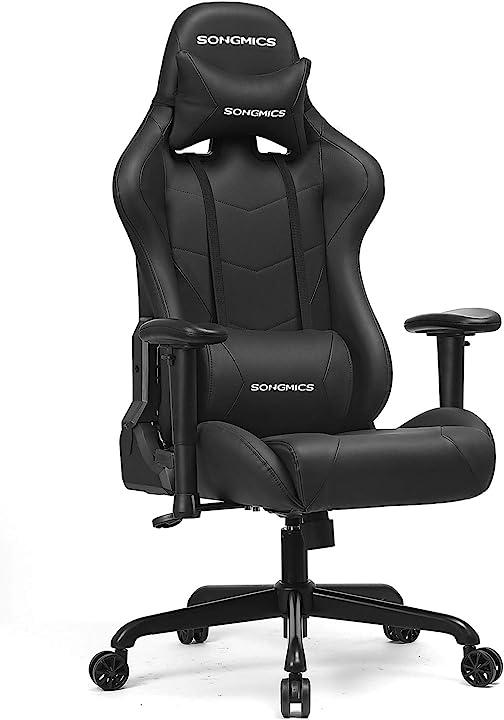 Sedia gaming capacità 150 kg sedia girevole da ufficio con cuscino lombare e altezza regolabile songmics RCG42BK