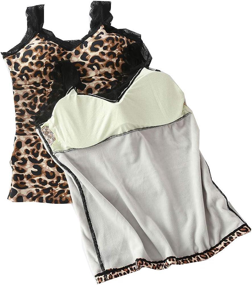 HZYFP Leopard Underwear Tops Camisoles Tank Top Vest Thermal Soft Undershirt for Women
