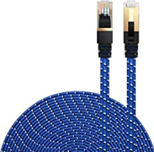 DanYee Cat 7 Ethernet Cable, Nylon Braided Network Cable Internet Cable 3ft 10ft 16ft 26ft 33ft 50ft 66ft 100ft CAT7 High Speed Professional Gold Plated Plug STP Wires CAT 7 RJ45 LAN Cable (Blue 3ft)