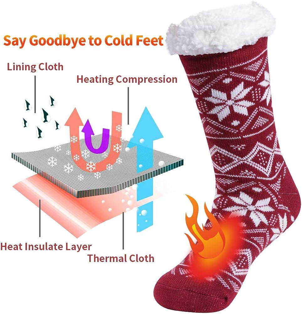 Women Slipper Socks,Sunew Girls Winter Warm Thick Fleece Lining Socks Fuzzy Soft Home Christmas Grippers Thermal Socks