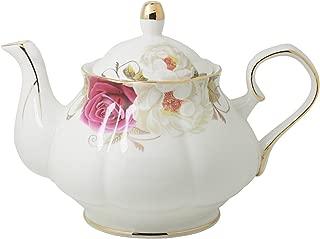 Jomop Pottery Teapot Cool Gift For Tea Lovers Handmade Ceramic Teapot (Dark red)