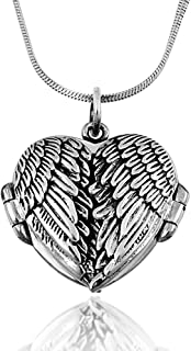 925 Oxidized Sterling Silver Celtic Angel Wings Heart Locket Pendant on Alloy Necklace Chain
