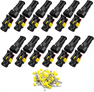 12 Pack 2 Pin Way Car Waterproof Electrical Connector HID Plug Automotive 1.5mm Series Terminal Connectors for Car, Truck,...