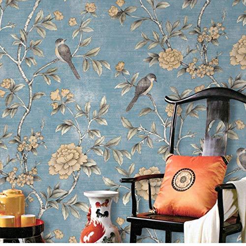 Design Tapete Blumentapete im chinesischen Stil Klassische pastorale Blumen Vögel Tapeten Rot Gelb Blau Chinoiserie Retro Girls Bedroom 5.3㎡