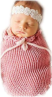 Vemonllas Fashion Unisex Newborn Boys Girls Crochet Outfits Baby Photography Props Sleeping Bag Pink