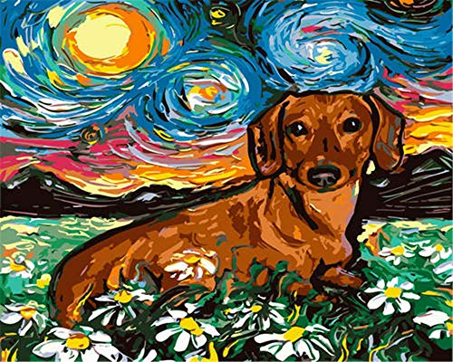 N\A Painting By Numbers Paintings Diy Preprinted Canvas For Friend Adults Children Seniors Junior Starry sky, flowers, animals, dogs 40X50CM