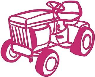 hBARSCI Lawn Mower Vinyl Decal - 11 Inches - for Walls, Windows, Doors, Vehicles, Outdoor-Grade 2.5mil Thick Vinyl - Pink
