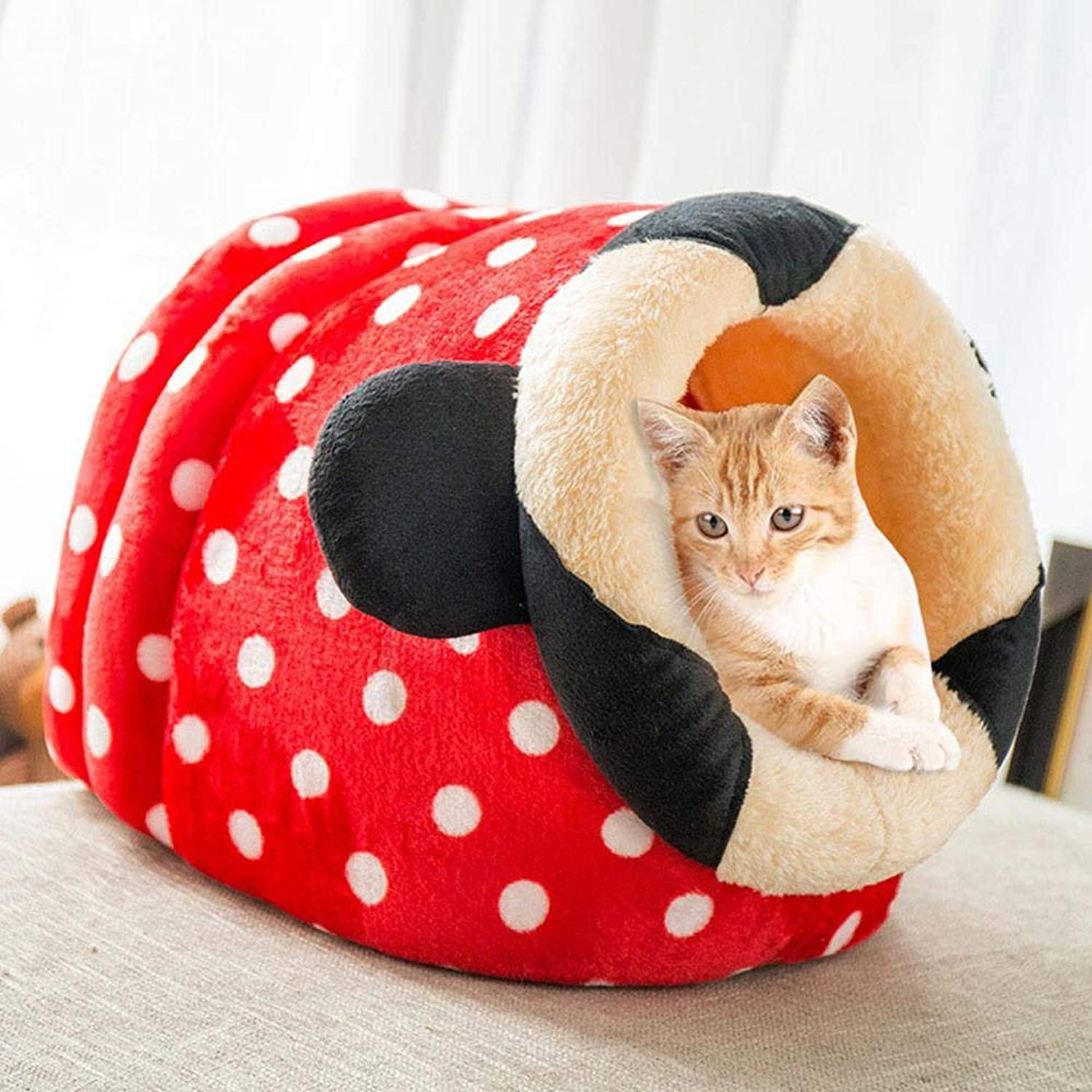 Dog Cat Sofa Bed  Tent Cave  Nest Cushion, AUOKER Soft Thick Warm Short Plush Washable and Detachable Pet Dog Cave Bed House Kennel with Pad, NonSlip, Easy Clean for Small Medium Large Dogs Cats