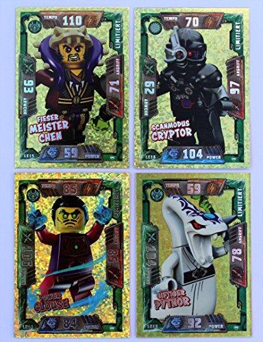 Lego Ninjago Serie 2 Sammelkarten - Set 4 x limitierte Gold Karte LE13 Pythor LE14 Clouse LE15 Chen LE16 Cryptor