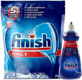 Finish Dishwasher Salt 2kg and Finish Rinse Aid, Shine & Dry- 400 ml