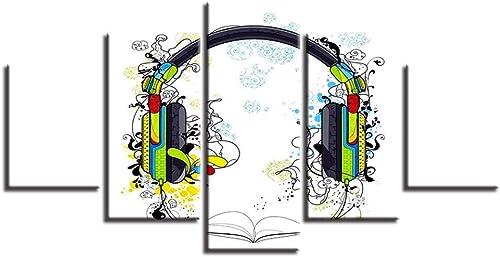 Esperando por ti Giow Lienzo Marco de Fotos Fotos Fotos Decoración para el hogar 5 Unidades Color Auriculares Abstractas Pinturas Modulares HD Imprime Cartel de la Música Sala de Arte de La Parojo  salida de fábrica