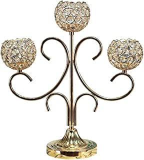YJWOZ Candlestick Metallic Glass Candlestick 3-Armed Decoration Living Room Dining Table Candlestick Romantic Candlelight Dinner Props Jewelry Gifts (Color, Gold, Size, 15 11 45cm),Gold,151.