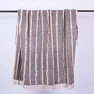 Homevibes Manta para Sofa con Flecos 100% Algodon, Manta para Comedor, Manta Multiuso, Manta con Flecos, Medidas 125x150cm (Diseño 1)