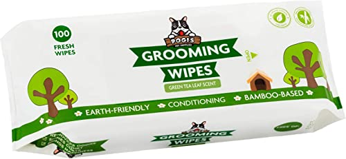 Pogi's Grooming Wipes - 100 Deodorising Wipes for Dogs & Cats - Biodegradable, Green Tea Scented