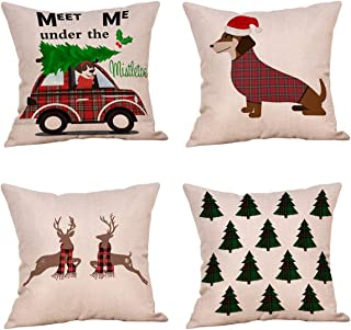 Jartinle 4 Pack Rustic Christmas Red Plaid Car with Xmas Tree Throw Pillow Case Dachshund Deer Farmhouse Decorative Cushion Cover Cotton Linen 18x18 Inch Sofa Couch Holiday Decor