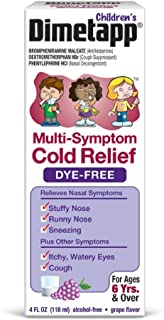 Dimetapp Children's Multi-Symptom Cold Dye-Free, Grape, 4 fl oz (Pack of 2)