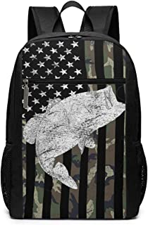 Green Camo Camouflage Flag Bass Fishing Angler Travel Laptop Backpack Durable College School Computer Bag for Men Women Kids Backpacks