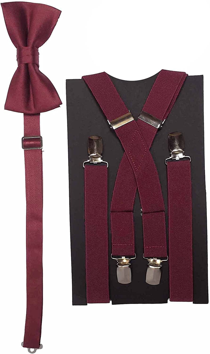 Spencer J's Men's X Back Suspenders Set of Bowtie Raleigh Mall Colo Max 40% OFF Variety