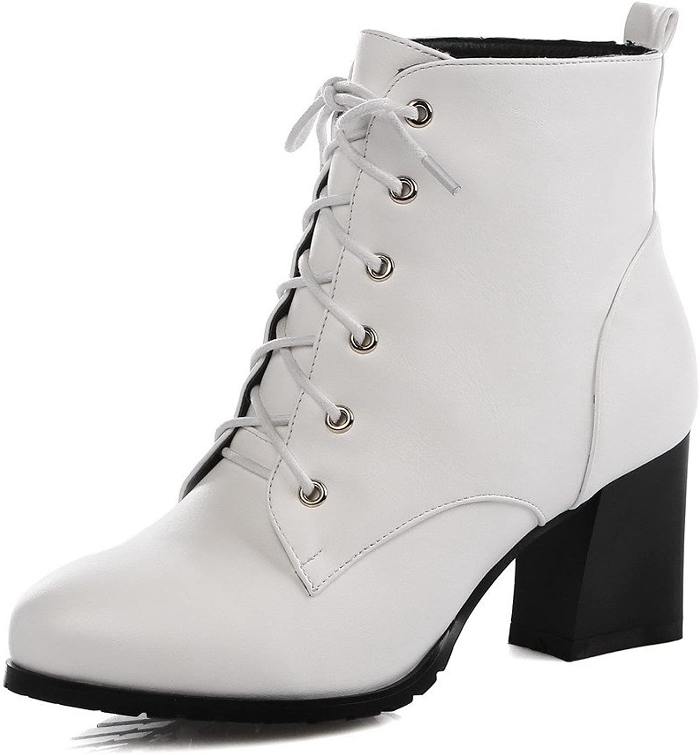 WeenFashion Women's Round Toe High Platform Ankle Strap Lace-up Closure Chunky Heels PU Boots with Zipper