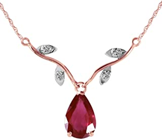 14k Solid Rose Gold Natural 1.52 Carat Ruby Diamond Pendant Necklace
