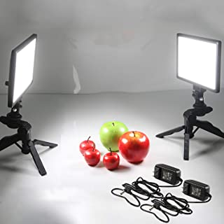 Viltrox 2 Sets Photography LED Video Light Lamp,Bi-Color 3300K-5600K, HD LCD Display Screen,CRI 95 for DSLR Table Photo Studio with Tripods