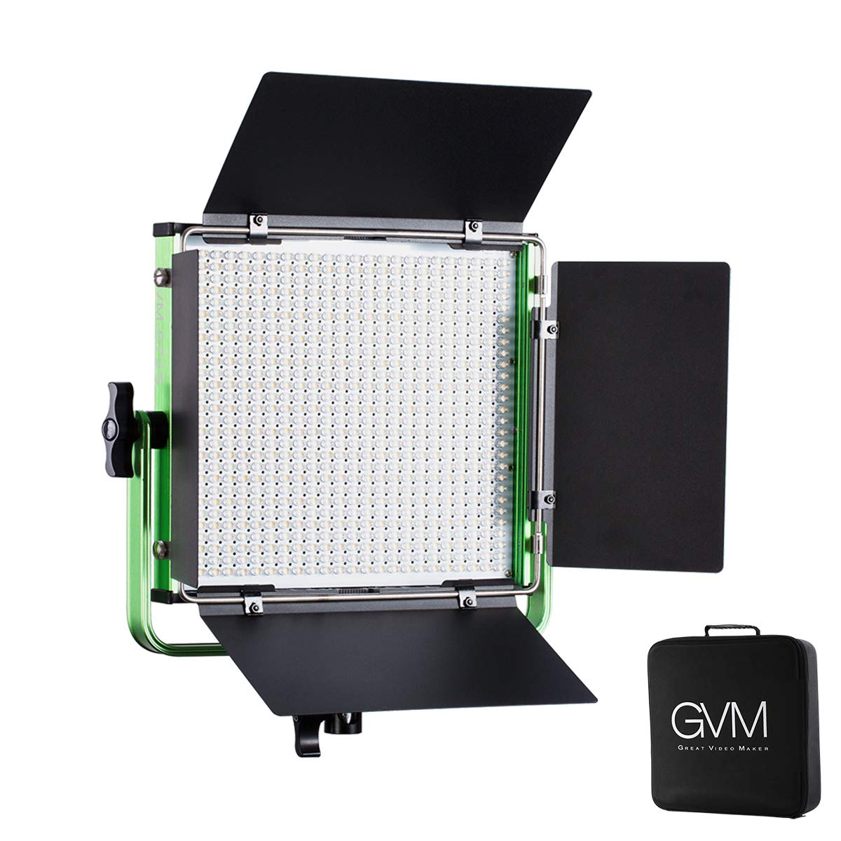 22000lux Dimmable Bi-Color 3200K-5600K Light Panel with Digital Display for Outdoor Interview Studio Video Making Photography Lighting 2 pcs Kit LED Video Light GVM 672S CRI97 TLCI97