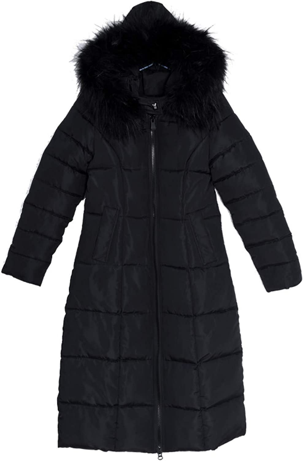 Female Ultra-Light Windproof Outerwear Long Padding Winter Coat with Faux Fur Trim Hood