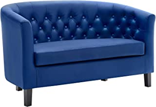 Modway Prospect Upholstered Contemporary Modern Loveseat In Navy Faux Leather