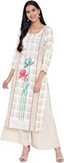 LOPA WOMEN RAYON PRINTED STRAIGHT FIT KURTA AND STRIPE PRINTED FLARED PALAZZO SET