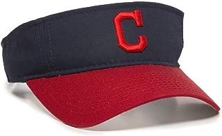 MLB ADULT Cleveland INDIANS Home Blue/Red VISOR Adjustable Velcro TWILL