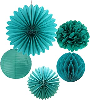 SUNBEAUTY Tissue Paper Pom Poms Paper Fans Honeycomb Balls Kit Wedding Birthday Baby Shower Valentine Decoration 5 Pieces (Teal Blue)