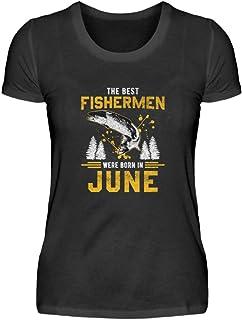 """Camiseta de manga corta para mujer con texto en alemán """"Juni Angler Geburtstag"""""""