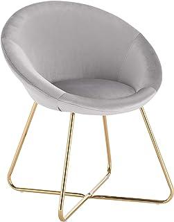 WOLTU 1 X Chaise de Chambre Chaise de Salle à Manger Assise en Velours Pied en métal,Gris Clair BH217hgr-1