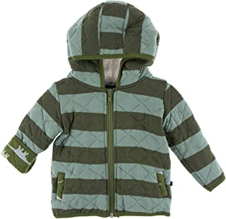 KicKee Pants Print Quilted Jacket with Sherpa-Lined Hood (3T, Paleontology Fauna Stripe with Moss Sauropods)