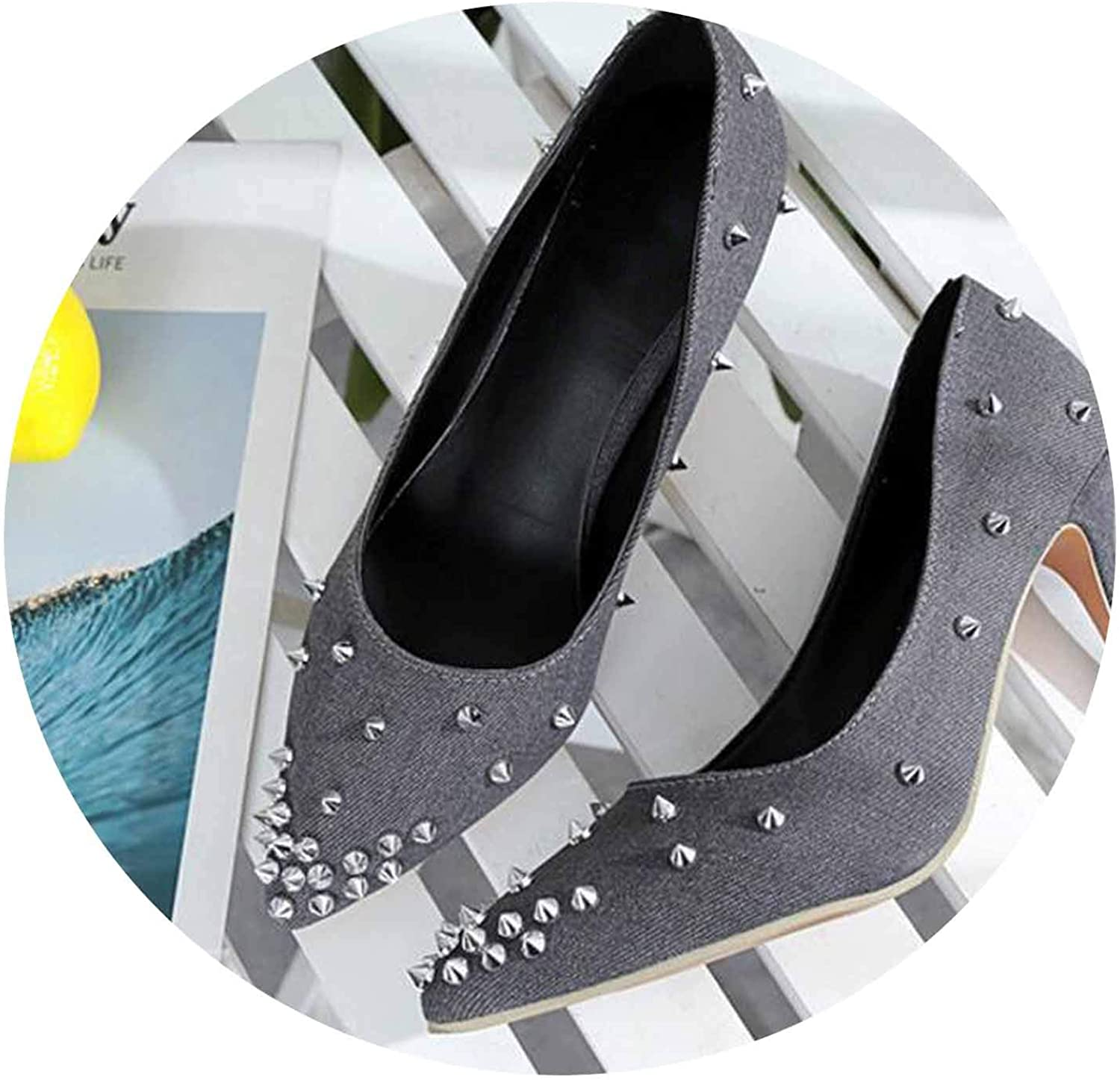 FINDYOU-pumps shoes High Heels Summer Spring Summer Sexy Jeans Cloth Thin Heel Rivet Pointed Single shoes 34-40